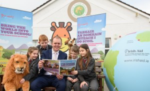 The Minister of State for the Diaspora and International Development, Joe McHugh, TD, joined pupils at Scoil Naomh Fiachra, Letterkenny, Co Donegal, today to launch the 2017 Our World Irish Aid Awards. Students from left are Ava Doherty, Kevin Condron, Adam Chambers and Ilinca Costan. The Awards invite pupils across Ireland to create projects about the challenges facing children in developing countries and the role played by Ireland, through Irish Aid, the Government's programme for overseas development, in the global effort to fight poverty. Schools are provided with online and print curriculum linked teaching and learning materials, and pupils communicate their ideas and understanding of the issues in writing, song, film, artwork or any medium they choose. Photo Clive Wasson.